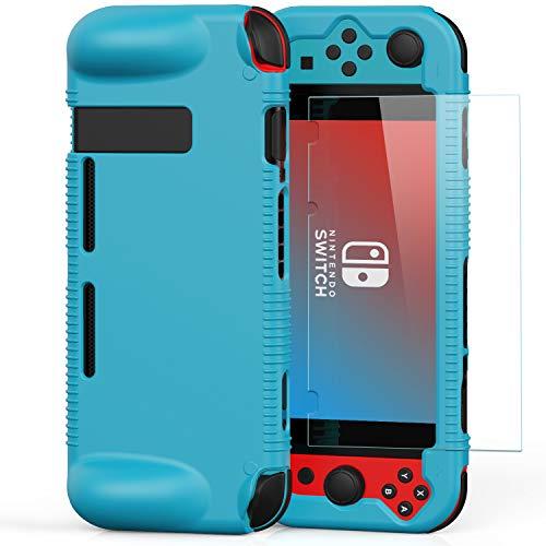 Semeving - Funda para Nintendo Switch con protector de pantalla de vidrio templado para niño/niña/hombre/mujer/niños (azul con protector de pantalla)