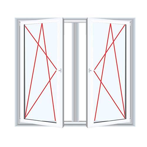 2-flügliges Kunststofffenster/PVC/Weiß Dreh-Kipp/Dreh-Kipp Fenster mit Pfosten, Glas:3-Fach, BxH:900x1100
