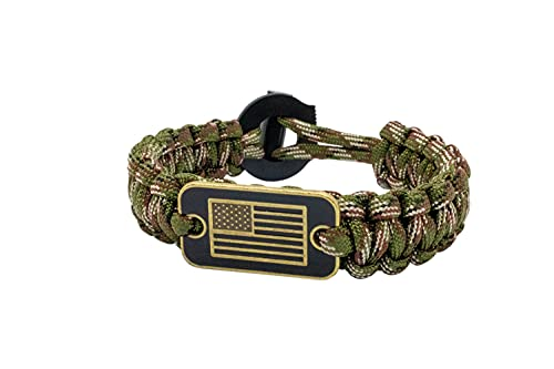USA Flag Paracord Survival Bracelet High Tensile Cobra Weave With Fire Starter By aarrows & Co (Green Camo)