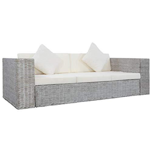 vidaXL Sofa 3-Sitzer mit Polstern Dreisitzer Loungesofa Rattansofa Sitzmöbel Couch Rattanmöbel Wohnzimmer Möbel Büromöbel Grau Natürliches Rattan