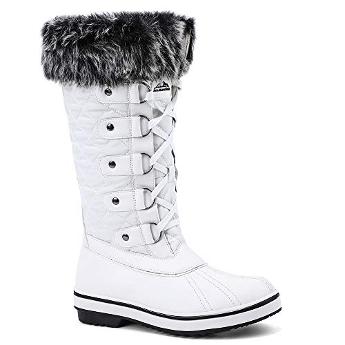 ALEADER Women's Lace Up Waterproof Winter Snow Boots White 10 D(M) US