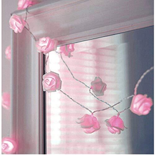 Syhonic 20 LED Battery Operated Rose Flower String Light Wedding Garden Chrismas Decor (Pink)