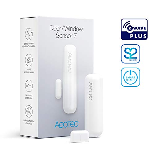Aeotec Door/Window Sensor 7, Z-Wave Plus S2 Smart Start, 3-in-1 with Dry Contact & Tilt sensors, 3 Year Battery Life, White