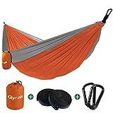 Glymnis Hamaca Ultraligera para Camping y Viaje de Nylon 300kg de Capacidad de Carga Ranspirable y Secado Rápido 275x140cm Kit de Hamaca de Tela 210T Gris y Naranja