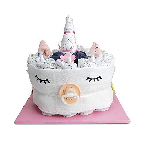 Windeltorte.com Einhorn Windeltorte für Mädchen - Süßes Geschenk für die Babyparty mit 21 hautfreundlichen LILLYDOO Windeln - Nützliches Geschenk zur Geburt