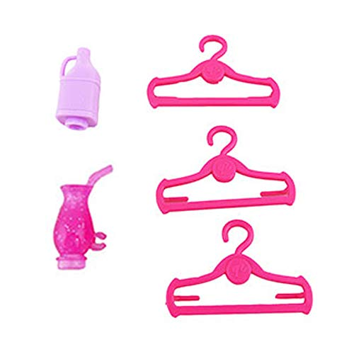 Replacement Parts for Barbie Hello Dreamhouse - Barbie Doll House DPX21 | Includes 3 Pink Hangers, 2 Sparkle Sodas and 1 Juice Jug