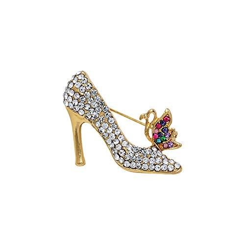 ZHENZHIA Broche Flor de Cristal Zapatos de tacón Alto Broches para Mujer...