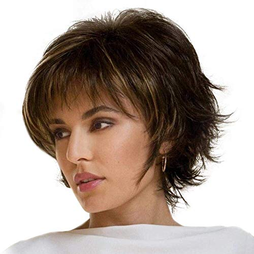 MKXF Hair Replacement Wigs, Short Layered Short Pixie Cut Wigs with Bangs Fluffy Short Wigs