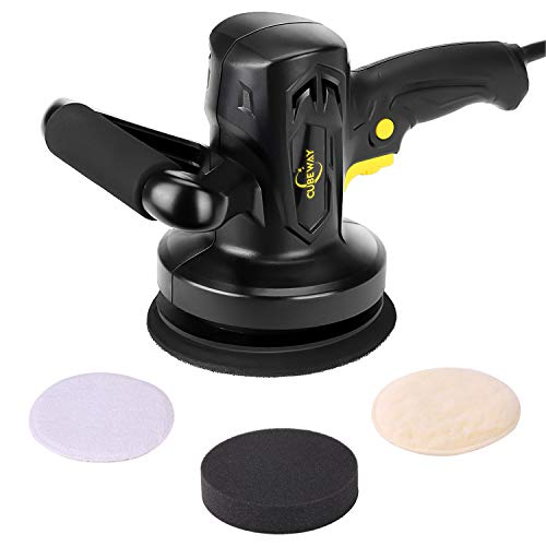 Buffer Polisher, 6-inch Electric Variable Speed Car Buffer and Polisher, Dual Action Random Orbital Polisher Kit with 3 Pads for Polishing and Waxing, CUBEWAY