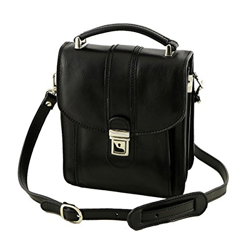 Herrentasche aus Leder - 2006 - Echtledertasche Schwarz Farbe 21 x 24 x 9 cm.