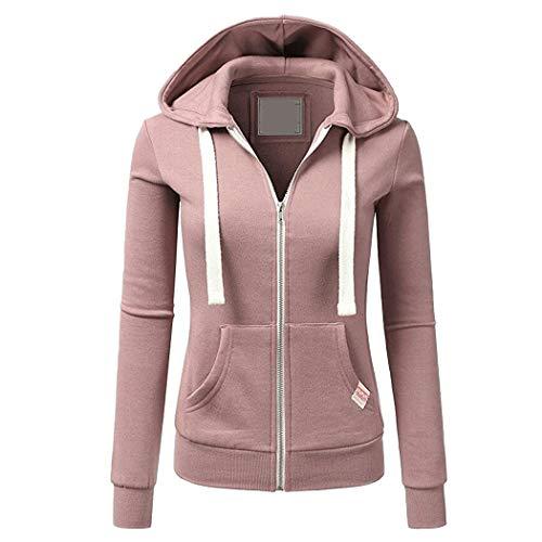 Chigant Damen Jacke Kapuzenpullover Reißverschluss Sweatjacke Hoodie Sweatshirt Pullover Oberteile V Ausschnitt Pulli mit Kordel und Zip Rosa L