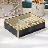 Caja Joyero Caja de joyería de cristal transparente Organizador de joyería de terciopelo Elegante apariencia de mármol y marco chapado en oro for el anillo y pulsera del collar del pendiente,caja de a