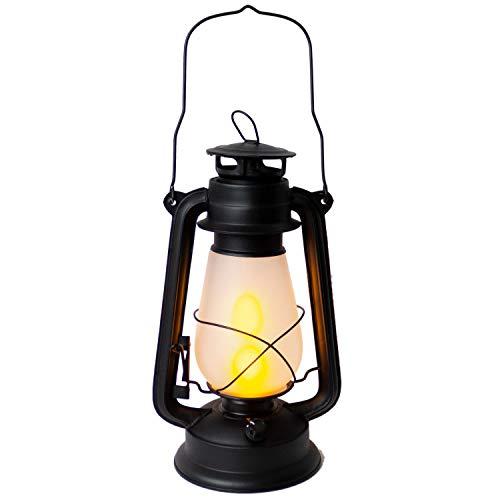 LED Laterne mit Feuereffekt, 18x14xH30cm, dimmbar, Schwarz - Flacker-Effekt, Windlicht Stalllaterne