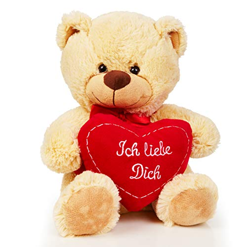 Lumaland Teddybär mit Herz in Beige 30 cm - Ich Liebe Dich Teddy - kuschelig - Plüsch Kuschelbär Kuscheltier Herzkissen - ideal für Freund und Freundin - Geschenk zum Valentinstag