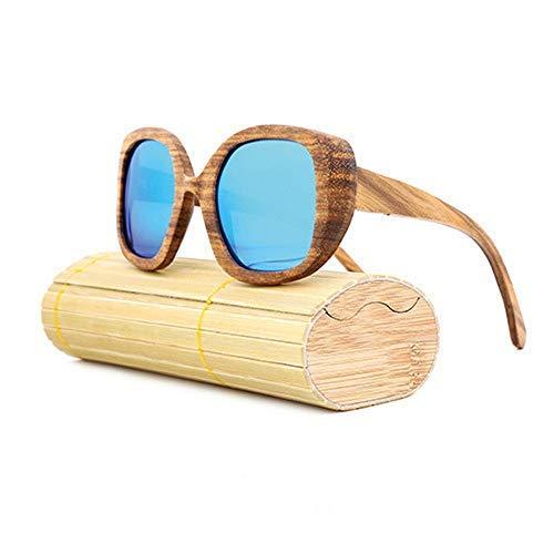ZJN-JN - Gafas de sol de madera polarizadas retro de madera con marco grande, para hombres y mujeres, gafas de sol de moda (color: verde, tamaño: libre) (color: azul