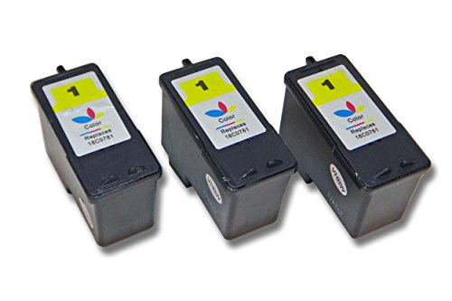 Set 3X Cartuchos de Tinta Marca vhbw para Lexmark X2310, X2315, X2330, X2350, X2450, X2470, X3450, X3470 sustituye Lexmark 1, 18C0781E, 18CX781E.