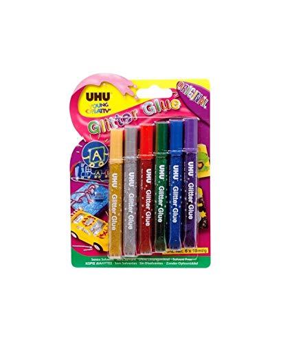 UHU 6 Penne Glitter Glue Original colori assortiti