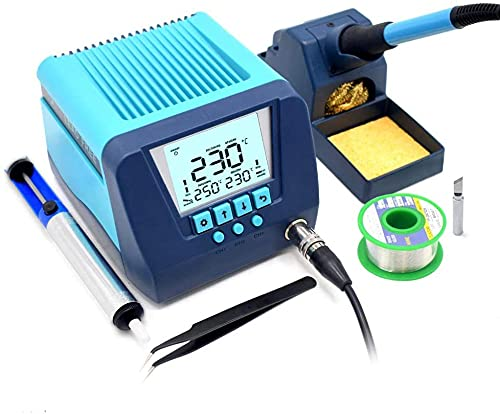 Premium-Lötstation 90W Lötkolben Set Regelbar Profi (Digitale LED-Temp-Anzeige, 180-480°C, Temperatursperrfunktion, Schlaffunktion), Lötset für Schule Labor Hobbylöten