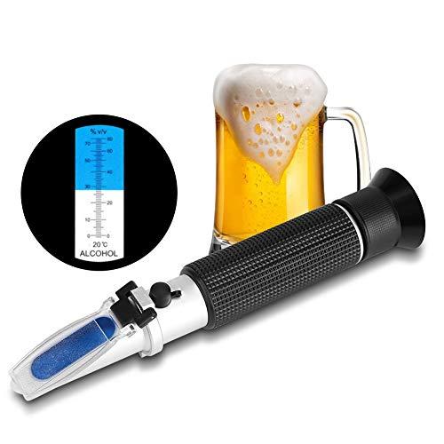 Jacksking Alkohol Refraktometer, Brix Refraktometer für Homebrew Handheld Alkohol 0-80% Tester Refraktometer Win Tester Meter Messinstrument für Bier Wein Obst Zucker