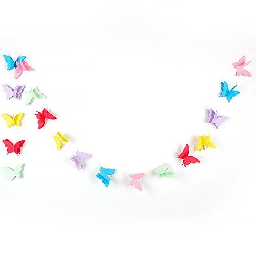 Colorido Papel Mariposa Papel Guirnaldas Boda Cumpleaños Fiesta Vacaciones Deco(2.7mColor)