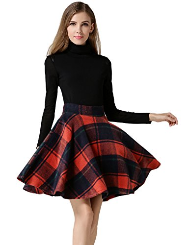 Tanming Women's High Waisted Wool Check Print Plaid Tartan Aline Skirt (Medium, Red TM2)