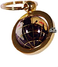 Unique Art 1-Inch Diameter Amberlite Pearl Swirl Ocean Gemstone World Globe Keychain with Gold Keyring