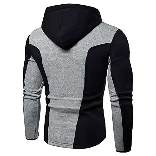 Men's Plus Velvet Pullover Zip Up Slim Stitching Jacket Color Block Athletic Hoodies Autumn Casual Winter Hooded Sweater