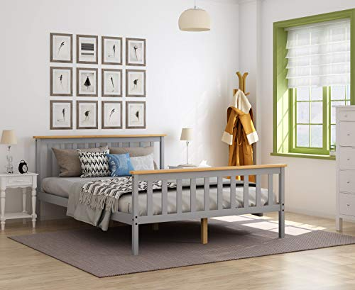 Panana 4.6FT Double Bed Solid Wood Bed Frame Wooden For Adults, Kids, Teenagers (Grey + Wood)