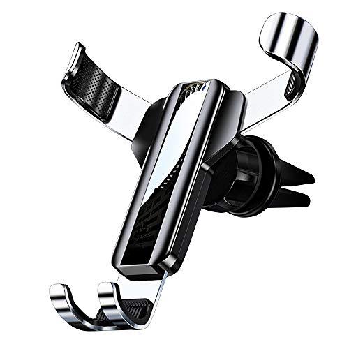 LISRUILY - Soporte para teléfono de coche, rotación de 360 °, gravedad, cojín de silicona, antideslizante, resistente a los arañazos, clip elástico, metal, universal negro