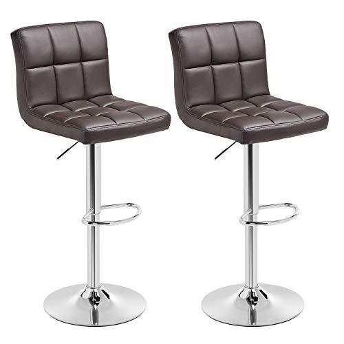 SONGMICS Barhocker 2er Set, höhenverstellbare Barstühle, Barstuhl aus Kunstleder, 360° Drehstuhl, Küchenstühle mit Rückenlehne & Fußstütze, Lobby, Tresen, verchromter Stahl, braun, LJB64BR