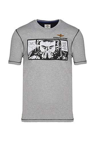 Aeronautica Militare Camiseta TS1864 para hombre, camiseta y camiseta gris L