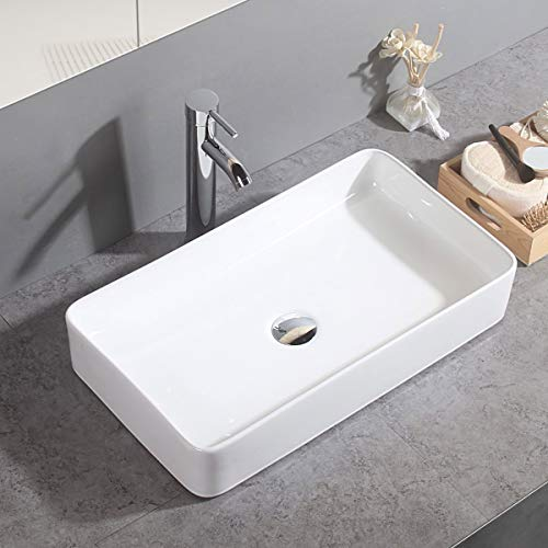 Gimify Keramik Aufsatzwaschbecken eckig Waschtisch für Badezimmer 60x34x10,5cm