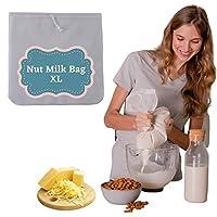 ナッツミルクバッグ 大容量 スーパーファイン製 耐久性 食品グレード認定ナイロンメッシュ 再利用可能ストレーニングバッグ ナッツミルク ジュース コーヒー 紅茶などに (12インチ x 12インチ)