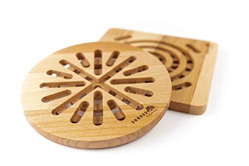 DMwood - Untersetzer, Wasserkocher oder Pfannen Hitzebeständig (Runder Durchmesser: 19,5 cm, Dicke: 1,5 cm, Gewicht: 200 g)