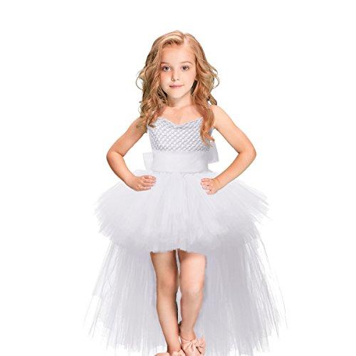 HBBMAGIC Tütü Kleid Mit Gürtel Karneval Kostüm Kinder Tüll Kleid Mädchen für Hochzeit, Geburtstag, Besonderen Anlass, Weiß, 104/3-4 Jahre
