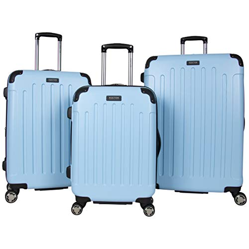 Kenneth Cole Reaction Renegade 3-Piece Lightweight Hardside Expandable 8-Wheel Spinner Travel Luggage Set, Sky Blue, (20'/24'/28')