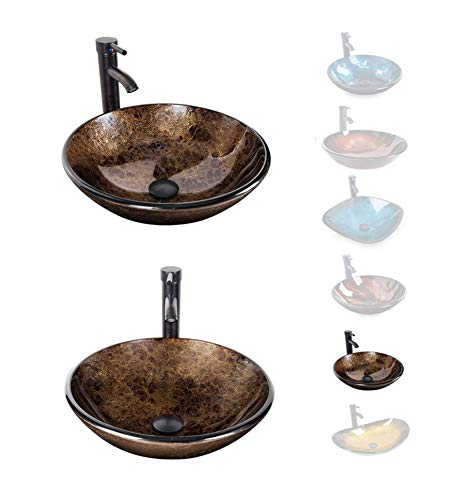 ELECWISH Bathroom Vessel Sink with Faucet Mounting Ring and...