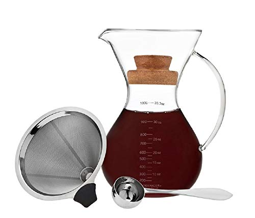 Godinger Coffee Maker Pour Over Drip Brew Coffee, Includes Spoon and Cork Lid - 1L / 7 Cups