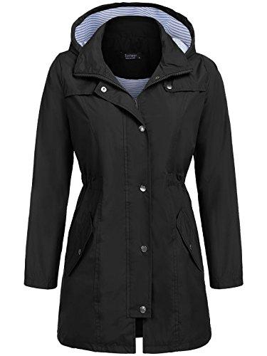SoTeer Raincoat Women Waterproof with Hood Lightweight Active Outdoor Rain Jacket Windbreaker (Black, L)