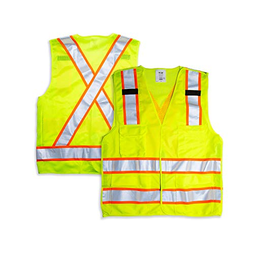 TR Industrial 5-Point Breakaway High Visibility Safety Vest, Type R Class 2 Size XXL