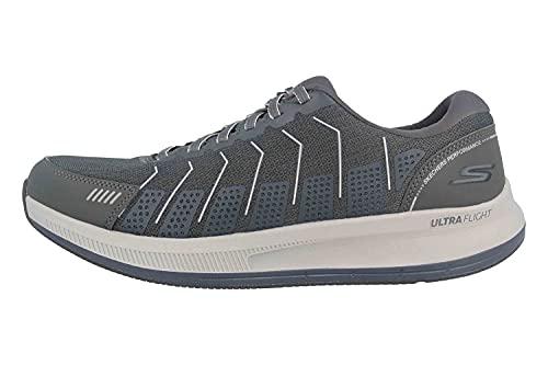 Skechers Herren Go Run Pulse Sneaker, Anthrazitfarbenes Textil-Synthetik Marineblau, 45 EU