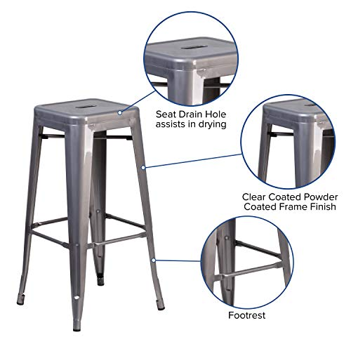 Flash Furniture 30'' High Backless Clear Coated Metal Indoor Barstool with Square Seat