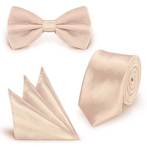 StickandShine SET Krawatte Fliege Einstecktuch Creme einfarbig uni aus Polyester