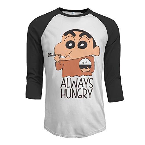 JacobCole Men Hungry Shin-chan Sportstyle Raglan Baseball 3/4 Sleeve T-Shirts Printed Athletic Tee Top Black