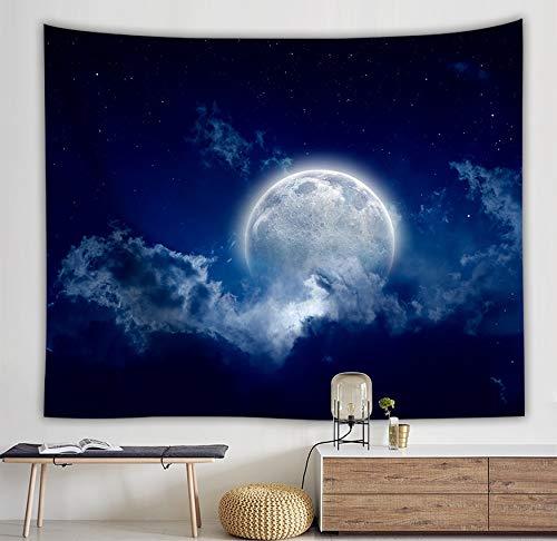 WERT Sea Rises Bright Moon Tapiz Colgante de Pared Moon Light Tapices Estilo Fresco Paisaje Mar Negro Hippie Paño de Pared Home Deco A3 150x200cm