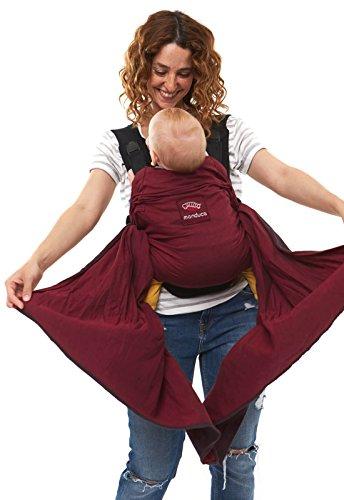 manduca DUO - das innovative Tragesystem, Babytrage und Tragetuch zugleich, Click & Tie System, optimiert als Bauchtrage, abnehmbarer Hüftgurt, für Neugeborene und Babys bis 15 kg (red/rot)