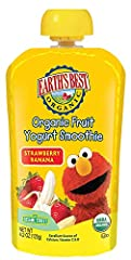 Twelve 4.2 oz. pouches of Earth's Best Organic Sesame Street Toddler Strawberry Banana Fruit Yogurt Smoothie No artificial flavors or colors USDA Certified Organic Made with non-GMO ingredients For toddlers 2 years and older Made with bananas, strawb...