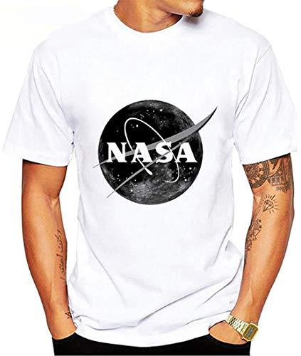 OLIPHEE Impresión Camiseta Estampada de Manga Corta NASA Logo Secado Rápidon Camiseta Deportiva for Hombre 03-L