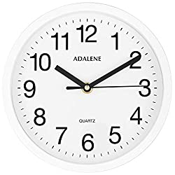 Adalene Small Wall Clocks Battery Operated 8 Inch for Living Room Décor, Modern Decorative Analog Wall Clock Non Ticking, Vintage White Wall Clock Silent, Small Wall Clock for Bathroom Kitchen Bedroom