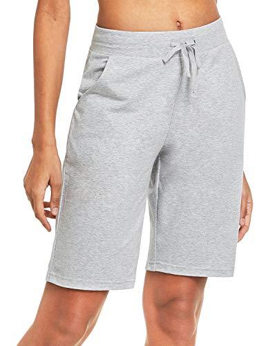 BALEAF Damen Bermuda Shorts mit Taschen Kurz Baumwolle Hose für Yoga, Sport, Freizeit Hell Grau S